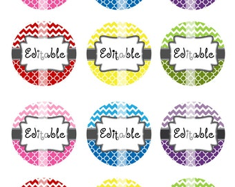 Editable  4x6 JPEG -  Moroccan Chevron Pattern - 1 inch Round Digital images for bottle cap pendants, cupcake toppers, badges,  - Download
