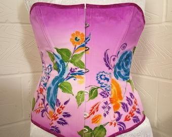 lightly Steel Boned Corset, floral,35 inch waist.