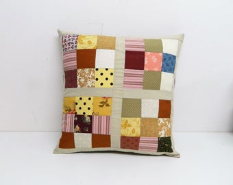 Patchwork cushion, patchwork fabric, patchwork squares, cushion cover, unique cushion, sofa cushion cover, new home gift, cushion cover chic