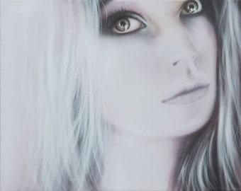 Original Painting, Female Portrait, Black and White, Canvas Art