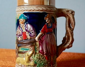 Vintage Mid Century Stein Distributed By Kress Markets / German Beer Mug / Ornamental Drink Ware / Barware / Collectibles / Colorful Stein