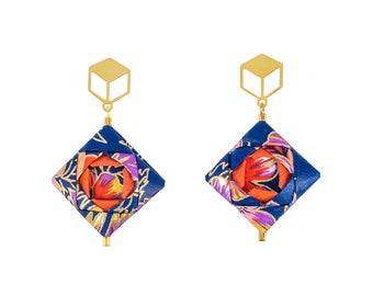 Royal Blue, Gold, Origami Earrings; Jewelry; Dangle Earrings; Origami; Anniversary; Gift; Japan; Earrings; Girlfriend Gift; Paper Jewelry