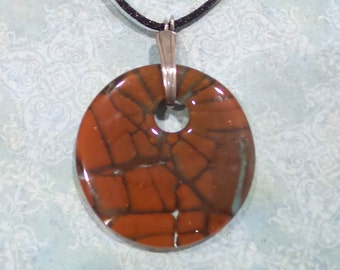 Brown Statement Pendant, Fused Glass Pendant, Autumn, One of a Kind Necklace, Fused Glass Jewelry, Ready to Ship - Bronze- -6