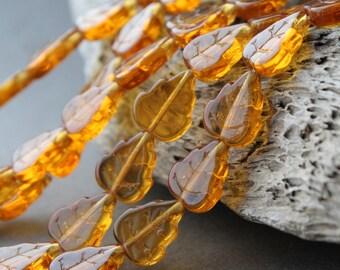 Glass Leaves, Leaf Beads Topaz, 25Pc, 10х12mm Czech Glass Beads