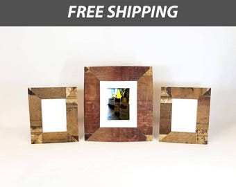"Three Wine Barrel Picture Frames (one 8""x10"") (two 5""x7"") - Made with Napa Valley wine barrel staves"