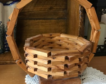 Vintage hand made wooden basket.