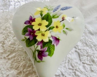 Limoges Trinket Box, Heart Shaped, French Porcelain, Yellow Purple and Blue Floral
