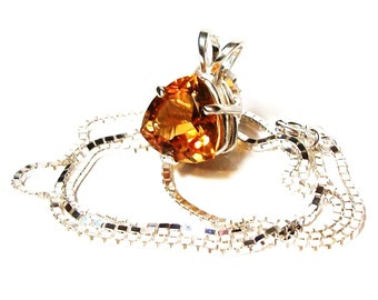 "Citrine, citrine necklace, citrine pendant, golden orange, mothers day,  ""Candle lite night"""