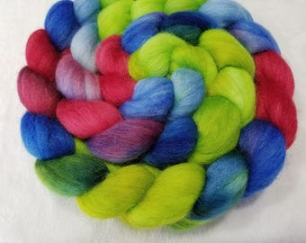 Merino/Baby Alpaca/Silk Roving-50/30/20-Hand Dyed/Painted - 4 oz