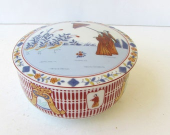 Vintage Chinoiserie Porcelain Jar With Lid - Lovely Terra Cotta and Blues on White - Figural Motif -