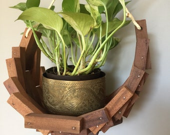 Boho Wooden Hanging Plant Holder - Mid Century Folk Art Garden Crescent Basket