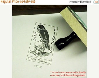 Mothers Day Sale Raven Perched on Human Skull and Book Ex Libris Bookplate Rubber Stamp N04