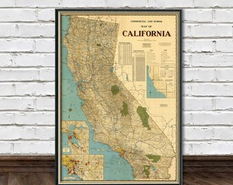 Large map of California - Vintage map archival print - California map poster