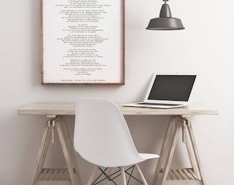 Poem Art Desiderata Print, minimalist poster, Max Ehrmann Literary Poster, literary quote print, motivational poster, modernist wall art