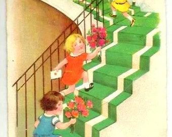Vintage designed Postcard - HUMOUR - GIRLS Climbing Stairs with FLOWERS - French colored Greetings- Art Deco- 1929  written - Good condition