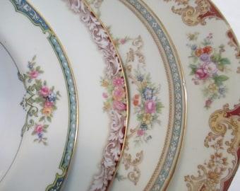 Vintage Mismatched China Soup Bowls, Salad Bowls w/Imperfections - Set of 4
