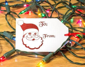 Christmas Gift Tags, Foil Christmas Tag, Gift Tags, Holiday Gift Tags, Gift Tags Christmas, Santa, Reindeer, ornaments Set of 10