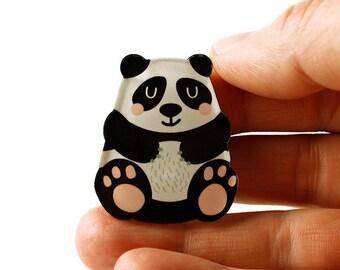 Panda Brooch, Panda Pin, Bear, Badge, Acrylic Brooch, Acrylic Glass