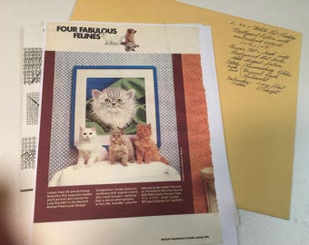 WHITE CAT 17 inch Needlepoint Embroidered Picture McCall's Leaflet 957-NB, 1979