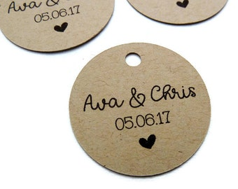 Custom Wedding Tags - Custom Wedding Favor Tags - Round Wedding Tag - Personalized Tag - Kraft Tags - Favor Tag - Choose Size - Party Favor