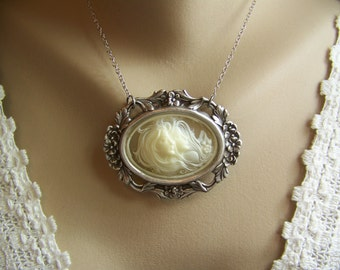 Cameo Necklace, Ivory Cameo, Twins Cameo, Sisters Cameo, Oval Necklace, Floral Setting Cameo, Oval Pendant Necklace, Resin Cameo, Cameo