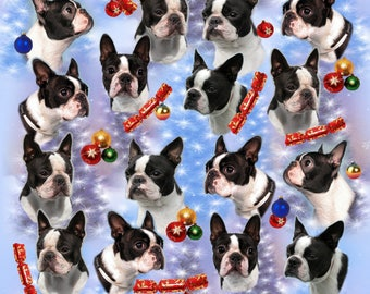 Boston Terrier Dog Christmas Gift Wrapping Paper.