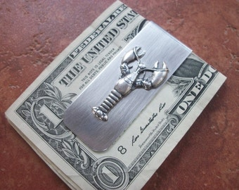 Lobster Aluminum Money Clip - Riveted - Silver Ox - Wedding Party - Groomsman Gift - Can Be Personalized