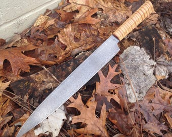 "290mm (11.5"") Damascus Yanagiba Fish Slicer with Curly Maple Handle"