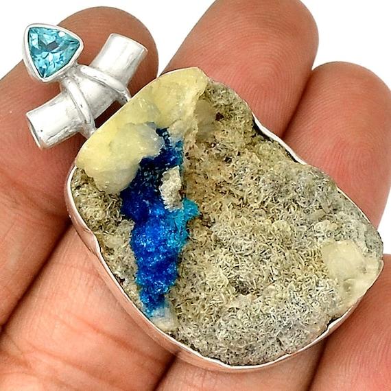 Cavansite Rare Mineral Sterling Silver Pendant