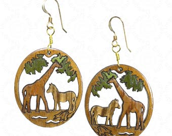 Giraffe and Zebra Wood Inlay Earrings on 14K Gold Filled Wires