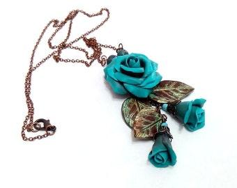 Turquoise Pendant, Rose Pendant necklace, Leaf necklace, Leaf pendant, Flower necklace, Costume jewelry, Flower jewelry, Rose