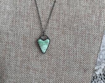 Australian Variscite and sterling silver heart pendant