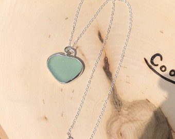 Bezeled Blue Sea Glass Necklace//Sterling Silver