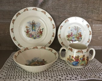 Bunnykins Childs Royal Doulton England Place Setting Bowl Plates Two Handled Mug Vintage
