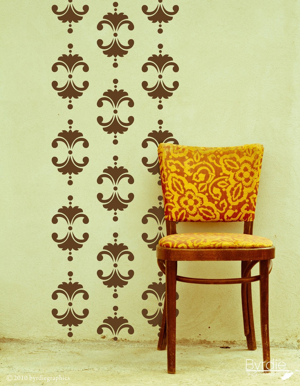 Vintage Floral Damask Vinyl Wall Decal Wall Pattern Vinyl