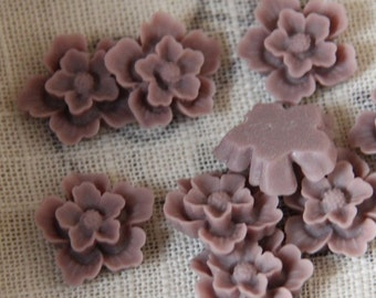 12 pcs of sakura flower cabochon-22mm-rc0166-46-tan