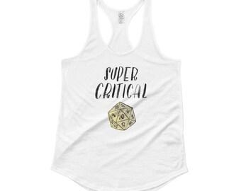 Super Critical Tank Top, D20 Shirt, Dungeons and Dragons Shirt, Women's D&D, Tabletop Gamer Shirt, Gaming Gift for Her, Pathfinder Shirt