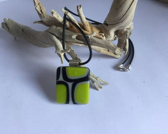Beautiful green and black fused glass pendant with a 9.25 silver roll top bail