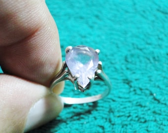 Pretty Sterling Silver Ring W/ Lt. Amethyst Setting - Marked Sterling - Size 7 1/4 - Great Ring!