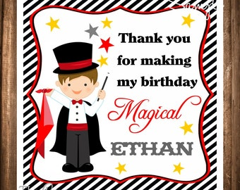 Magician Gift Tags, Magician Hang Tags, Personalized Labels, Boy Magician, DIY, Digital file, Magic Birthday Party