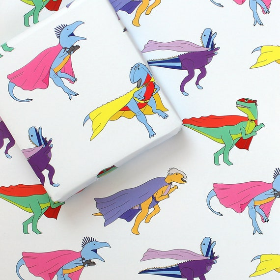 Dinosaur Superhero Wrapping Paper Gift Wrap Wrapping Paper