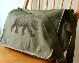Grizzly Bear Messenger Bag Laptop Bag For Men Bag for Women