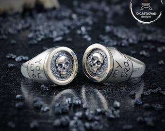 Father's Day gift, Custom Design, Skulls wedding rings, Sterling silver engagement rings, Skull seal rings, Handmade rings