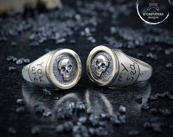 Custom Design, Skulls wedding rings, Sterling silver engagement rings, Skull seal rings, Handmade rings