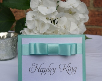 Ribbon Place card | Turquoise Place card | wedding placename |Luxury Wedding Stationery | Bespoke stationery