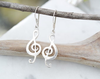 Sterling Silver Treble Clef Dangle Earrings, Sterling Music Note Earrings, Music Jewelry, Music Lover, Music Major, Sterling Treble Clef