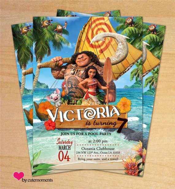 Moana Birthday Party Princess Moana Invitation Disney Moana