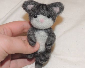 Felted grey kitten