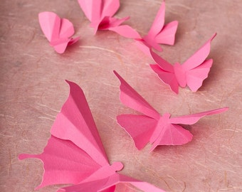 3D Butterfly Wall Art, 3D Wall Butterflies, 3D Butterfly Wall Decals | Bubblegum Pink Butterflies