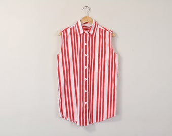 Sleeveless Striped Blouse, Minimal Striped Shirt, Vintage 90s Blouse, Simple Striped Blouse, Red White Sleeveless Oxford, 90s Minimal Blouse